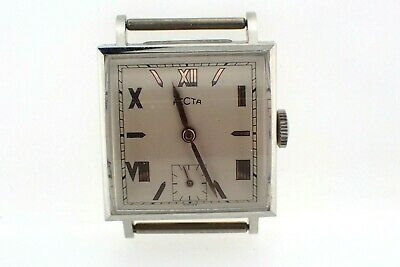 NOS Recta Men's 17 Jewel Mechanical Wind Wrist Watch runs Roman Numeral Dial