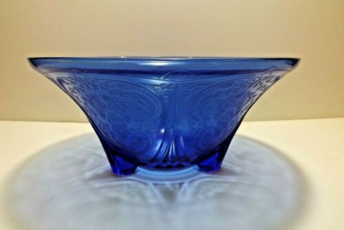 "Antique Hazel Atlas Royal Lace Cobalt Blue 3 Toed Bowl 10"" Depression Glass"