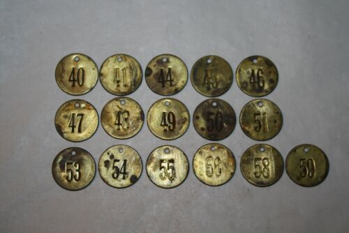 Vintage / Antique Brass Cattle Tag Lot of 16 #3