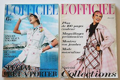 L'OFFICIEL Magazine PARIS French Coutour Fashion 1973 X2 #598 & 599