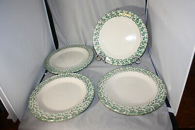 Roseville Workshops of Gerald E. Henn   Green Spongewear Border  Dinner Plate