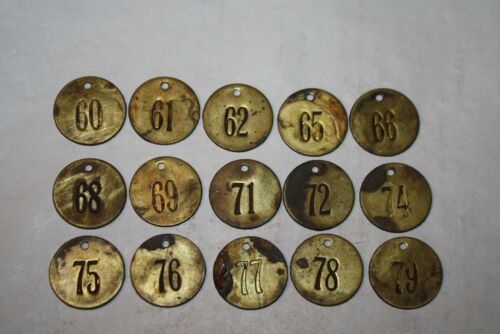 Vintage / Antique Brass Cattle Tag Lot of 15 #4