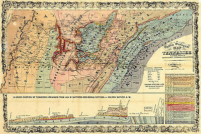 1866 Geological Wall Map Tennessee Parts of AL and MS Geology Home School Office