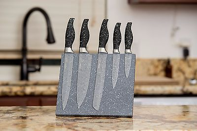 6 Interest Stainless Steel Knife Set with Magnetic Marble Block by 1Swish