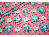Stoff fabric Sweat WINTER HASE dunkelblau Fiona Hewitt vintage Häschen bunny