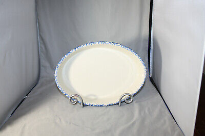Roseville Workshops of Gerald E. Henn Blue  Spongeware, 12 inch Oval Baker