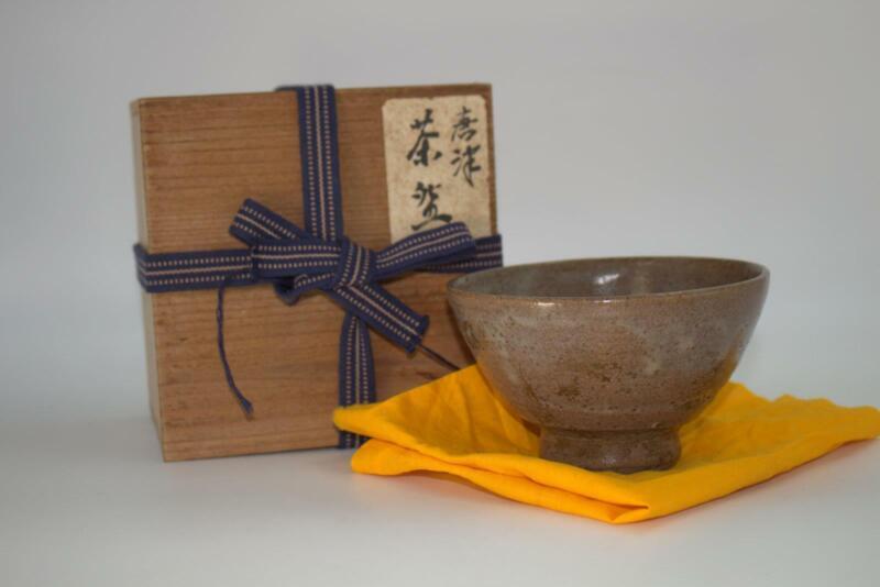 Japanese Antique Karatsu pottery tea Bowl Edo Period w / box KPCB14