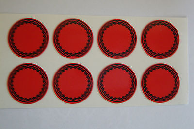 """12  RED  STICKERS 1"""" CROWN GREEN BOWLS LAWN BOWLS FLATGREEN  INDOOR BOWLS"""