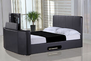 Casino 4FT6 Black Faux Leather Double TV Bed - Fits Upto 32