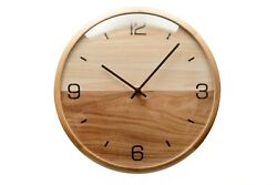 Driini Analog Dome Glass Wall Clock (12) - Pine Wood Frame with Two-Tone Wooden