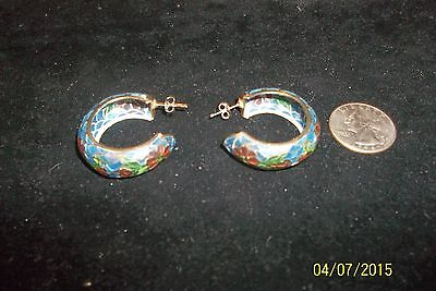VINTAGE CHINESE PLIQUE A JOUR ENAMEL STAINED GLASS CLOISONNE HOOP EARRINGS