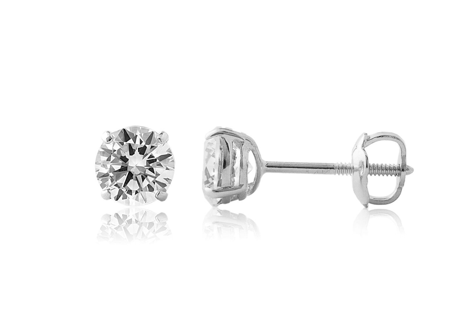 6 Ct Round Created Diamond Stud Earrings 14K Solid White Gold Basket Screw Back