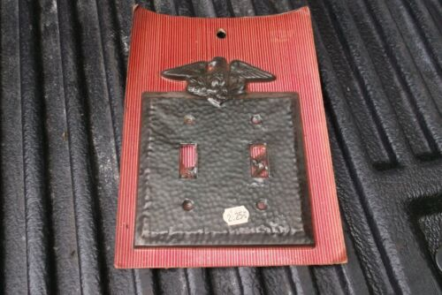 NOS Vintage Hammered Black Standing Eagle Double Light Switch Plate Aluminum