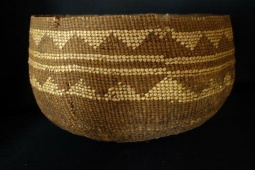 Antique California Mission Basket - Bowl Basket - Hupa? Karok? VERY early.