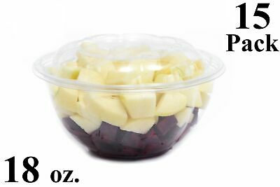 15 18 Oz. Clear Plastic Salad Bowls With Airtight Lids Bpa Free Food Containers
