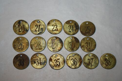 Vintage / Antique Brass Cattle Tag Lot of 16 #2