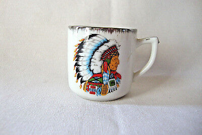 Colorado Souvenir Porcelain Miniature CUP with Chief Wearing Headdress/ Luster