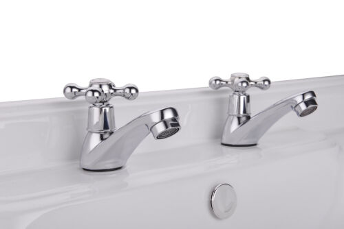 TRADITIONAL BATHROOM CLASSIC BASIN SINK PILLAR TAPS 2 HOT /& COLD PAIR STERLING
