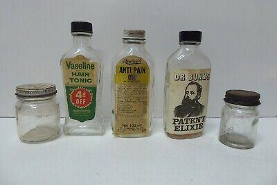 5 VINTAGE CHEMIST FIRST AID BOTTLES DR BUNNS ELIXER VASELINE TONIC RAWLEIGH PAIN