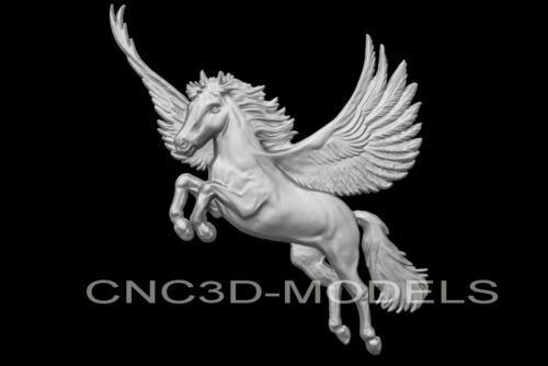 3D Model STL for CNC Router Engraver Carving Artcam Aspire Horse Wings n132