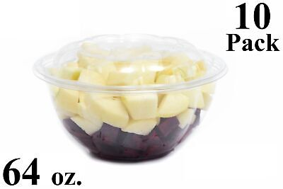 10 64 Oz. Clear Plastic Salad Bowls With Airtight Lids Bpa Free Food Containers