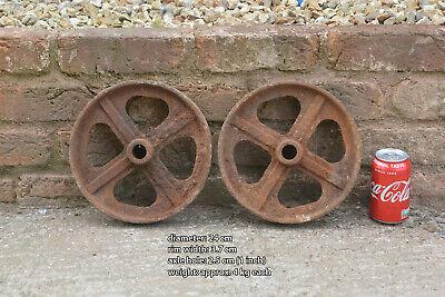 pair of iron wheels shepherd / chicken hut antique old trolley wheel 24 cm