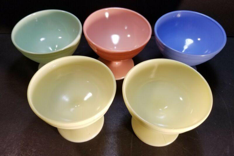 Vintage Hazel Atlas Pastel Moderntone Platonite Footed Sherbet Dessert Bowls 5pc
