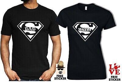 Super Dad Mum T shirt Couples Family Matching Gift Grandma Grandpa Mens Womens Dad Womens Fitted T-shirt