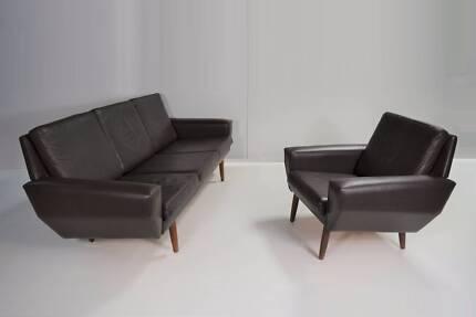 BOTH PIECES! Danish lounge sofa suite. Parker, Fler, Eames era