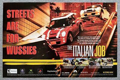 The Italian Job PS2 XBox | 2003 Vintage Game Print Ad Poster Pop Art Rare Eidos