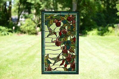 """20"""" x 34"""" Large Handcrafted stained glass window panel Hummingbirds & Flowers"""