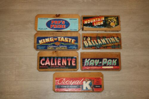Lot of 7 Vintage Wooden Wood Fruit Crate Advertising Ends Mountain Lion Caliente