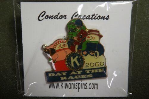 2000 Kiwanis International Day At The Races Lapel Pin Snowmen Jockey Horse