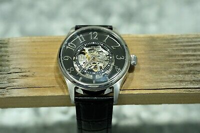 Stuhrling Original Men's Skeleton Automatic Black Leather Band Watch, Working