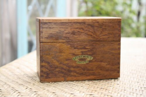 Ladies World Oak Recipe Box With Index Cards Dovetailed Vintage Antique