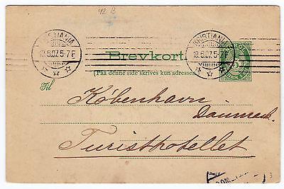 Norwegen Norge 1907 Brevkort 5 öre Ganzsache Postkarte Kristiania (TB-2069)