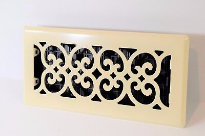 Decor Grates Floor Register FS410-AL Scroll Metal Almond, 4x10 (Decor Grates)