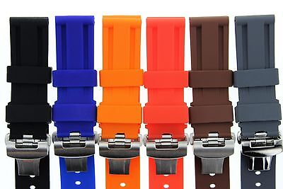 22MM - 24MM RUBBER DIVER STRAP BAND DEPLOYMENT CLASP BUCKLE FOR PANERAI #2 Panerai Rubber Band