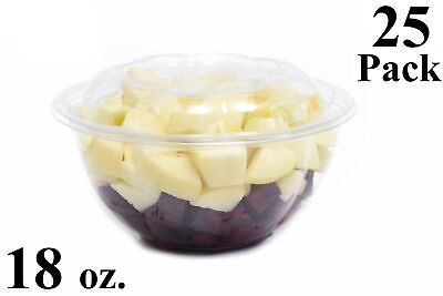 25 18 oz. Clear Plastic Salad Bowls with Airtight Lids BPA Free Food Containers