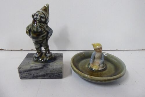 2 WADE WHIMSIES STATUE LEPRECHAUN FAIRY ON MARBLE BASE  AND IN DISH - FAIRYFOLK