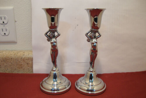 Set of 2 Farber Bros Krome Kraft Chrome Nude Candlesticks Candle Holders 8.5""