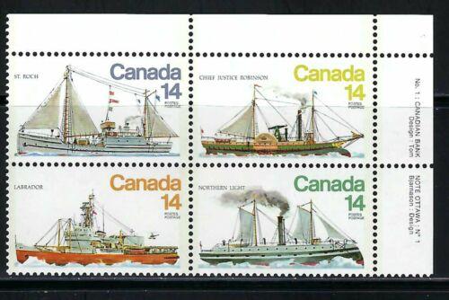 CANADA - SCOTT 779a - VFNH - UR PLATE BLOCK - ICE VESSELS - 1978