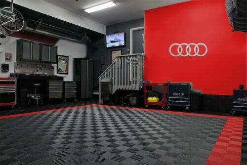 Audi 4 Rings Logo Garage Sign Brushed Silver