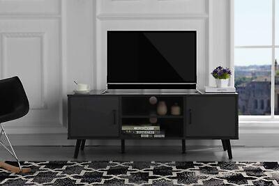 Modern Entertainment Center in Dark Grey Beech Wood TV Console TV Stand Wood