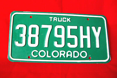 "COLORADO-Truck License Plate in Green with White Numbering ""38795HY"" NICE ONE"