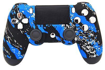 BLUE SPLATTER PS4 MODDED RAPID FIRE CONTROLLER - BEST MODS / FAST SHIP!