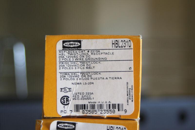 Hubbell 2310 2P3W, 20A 125V, L5-20R, Black Nylon Face HBL2310