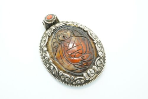 Antique Tibetan Silver Large Carved Amber and Coral Buddha Pendant