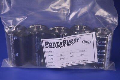 5 Ti Powerburst Ultracapacitors Supercapacitors 360 Farads 2.7vdc Tpls-36035x60