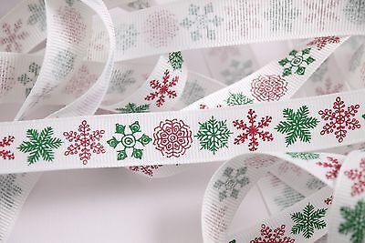 Berties Bows Red & Green Snowflake pattern - White Ribbon - Multi Item Discount](Discount Ribbon)